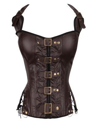 Remarkable Brown 10 Glue Bones Lace-Up Overbust Corset Smooth Abdomen