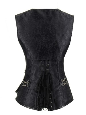 Jacquard Lace Up Back Gothic Overbust Steel Boned Corset
