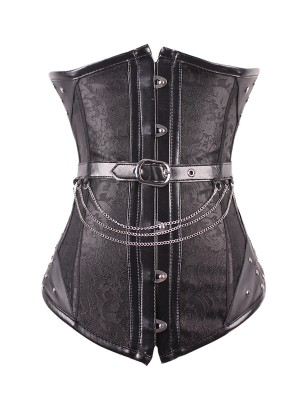 Black Noble 14 Steel Boned Steampunk Corsets Waist Corset With Chains