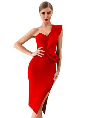 Snug Fit Red Bandage Dress Ruffles One Shoulder Feminine
