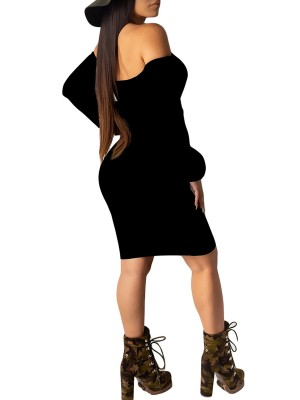 Loose Fitting Black One Shoulder Bodycon Dress Solid Color