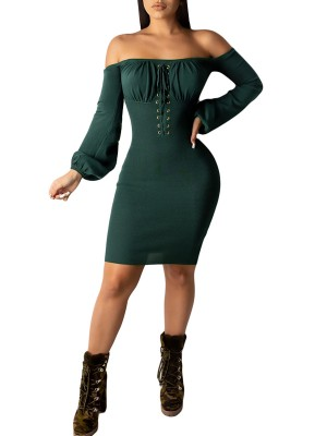 Flowing Green Off Shoulder Puff Sleeve Bodycon Dress Women Outfits