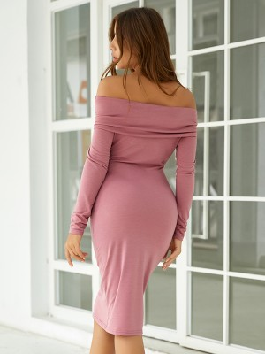 Dramatic Rose Red Plain Long Sleeves Bodycon Dress Loose Fit