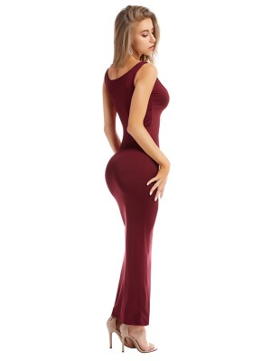 Natural Wine Red Solid Color Bodycon Dress Sling For Party