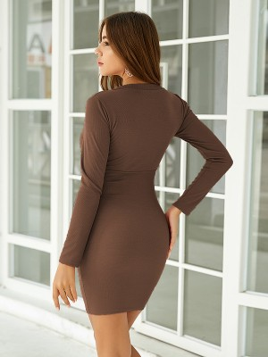 Hot Stuff Brown Solid Color Bodycon Dress Mini Length Fashion