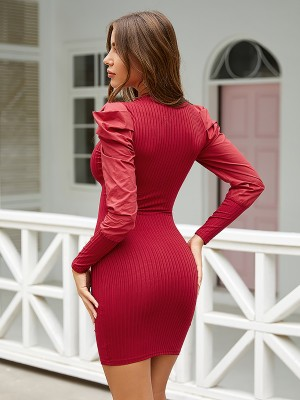Delightful Red Puff Sleeve Bodycon Dress Mini Length