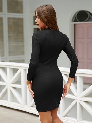 Sweety Black Square Neck Mini Length Bodycon Dress For Beauty