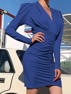 Blue Plain Ruched Bodycon Dress Puff Sleeves Super Faddish