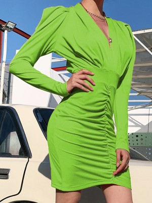 Green Ruched V Neck Bodycon Dress Puff Sleeve Newest Fashion