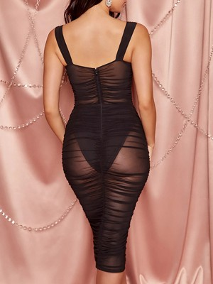 Women Black Sheer Mesh Bodycon Dress Solid Color Superior Quality