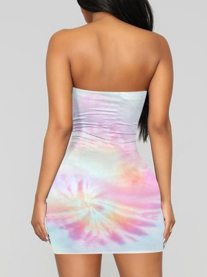 Extraordinary Pink Tie-Dyed Tube Top Dress Mini Length Soft-Touch
