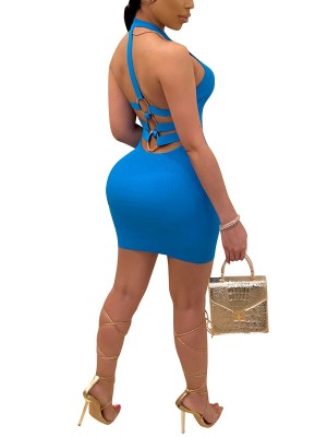 Affordable Blue Back Strap Bodycon Dress Metal Ring Leisure