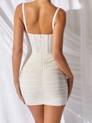 Slim Beige Plunge Neck Sling Bodycon Dress Svelte Style