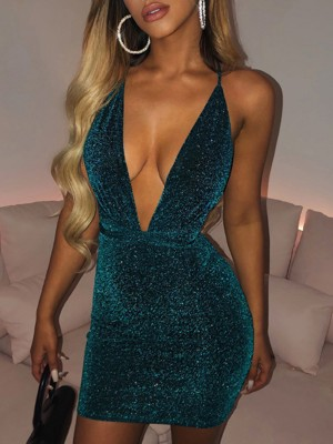 Blue Open Back Cross Mini Sequin Bodycon Dress Eye-Catching