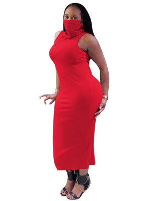 Super Sexy Red Sleeveless Turtleneck Dress With Mask Elegance