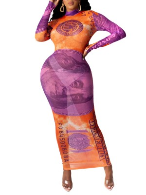 Orange Bodycon Dress Dollar Print High Neck Ultimate Comfort
