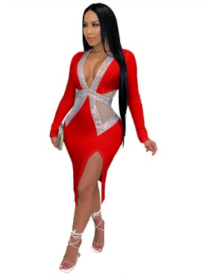 Red Slit Hot Drill Plunge Neck Bodycon Dress Chic Trend