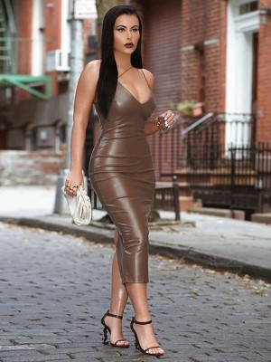 Brown Slender Strap Bodycon Dress Solid Color Womens Fashion Shopping