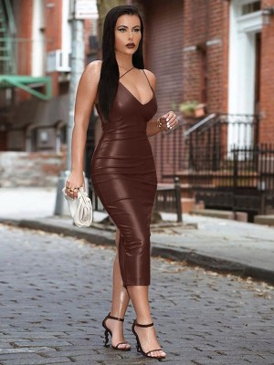 Wine Red Maxi Length Stretch Sling Bodycon Dress Comfort Women