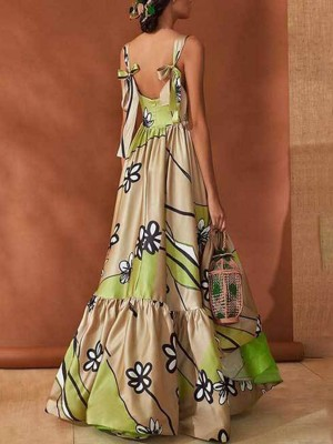 Apricot Bohemian Dress Long Style Flower Printed All-Match Style