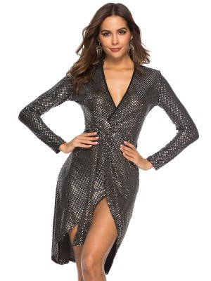 Body Hugging Black Sequin Cross Tie V Neck Evening Dress Lady Dress