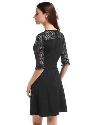 Sleek Black Lace Patchwork Mini Dress Half Sleeve For Female