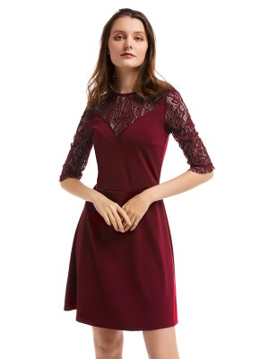 Fashionable Wine Red Round Collar Lace A-Line Mini Dress Unique Fashion