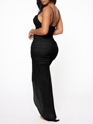 Elegant Black Mesh Backless Evening Dress Slit V-Neck Natural Outfit