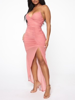 Super Sexy Pink V Neck Spaghetti Straps Evening Dress Comfort Fit