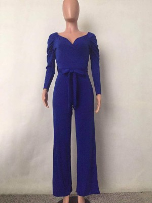 Pullover Blue Ruched Full Sleeves Jumpsuit Tie Shop Online