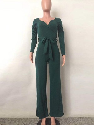 Ultra Sexy Green Waist Tie Jumpsuit V Neck Solid Color