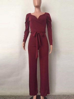 Dainty Red Deep V Neck Jumpsuits Long Sleeve Weekend Time