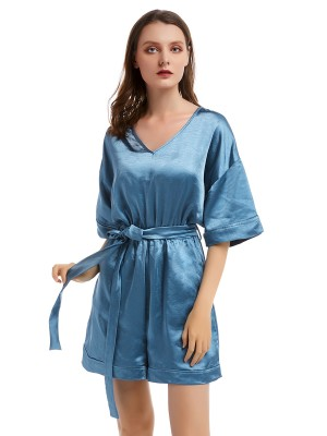 Nicely Aqua Short Sleeve Jumpsuit Tie Waist For Holiday