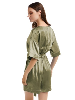 Irresistible Army Green V Collar Jumsuit Solid Color Eye Catcher