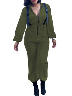 Slip Army Green Jumpsuit Long Sleeve Belt Solid Color For Lover