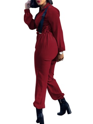 Hot Stuff Red High Waist Jumpsuit Full Sleeve All-Match Style