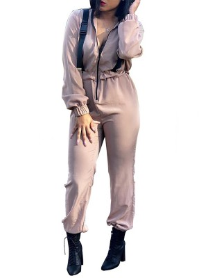 Entrancing Skin Color Fitted Waist Zipper Jumpsuit Long Sleeve