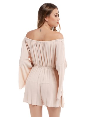 Super Trendy White Flared Sleeves Jumpsuit Off-Shoulder Smooth