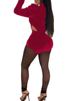 Sparkly Wine Red Perspective Puff Sleeves Mesh Jumpsuit