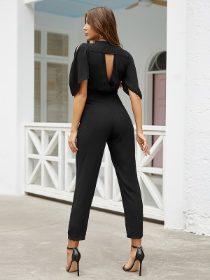 Breathtaking Black Tie Waist Jumpsuit V Neck Hollow Out