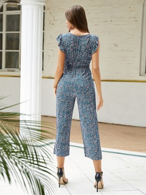 Casual Blue V-Collar Jumpsuit Straight-Leg Charming Fashion