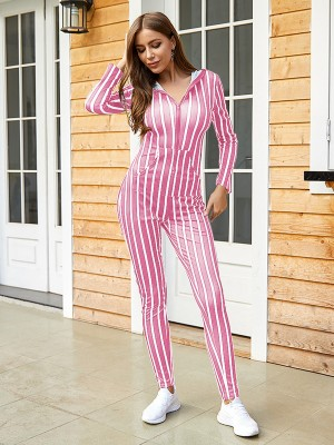 Body Hugging Pink Long Sleeves Hooded Zipper Jumpsuit
