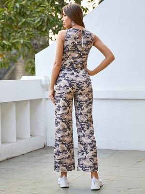 Glorious Keyhole Jumpsuit Wide Leg With Pocket Womens Casual