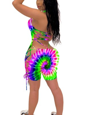 Eye Catch Tie-Dyed Printed Hollow Out Jumpsuit Fashion Style