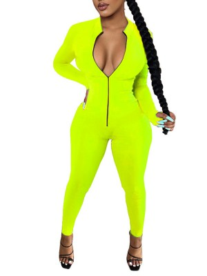 Green Solid Color Romper Thumbhole Ankle Length Feminine Fashion