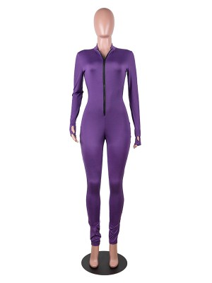 Close Fitting Purple Thumbhole Solid Color Zipper Jumpsuit Free Time