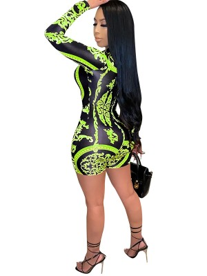 Green Long Sleeve Back Zipper Printed Romper Form Fit