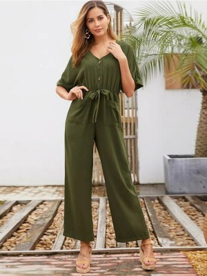 Flowery Army Green Tie Jumpsuit V Collar Solid Color Chic