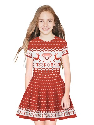 Exquisite Child Dress Mini Length 3D Pattern Outfit