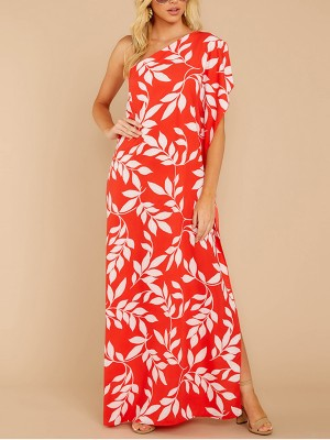 Soft Leaves Print Maxi Dress Side Split Natural Women Fashion